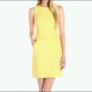 CALVIN KLEIN yellow tweed sheath dress NWOT